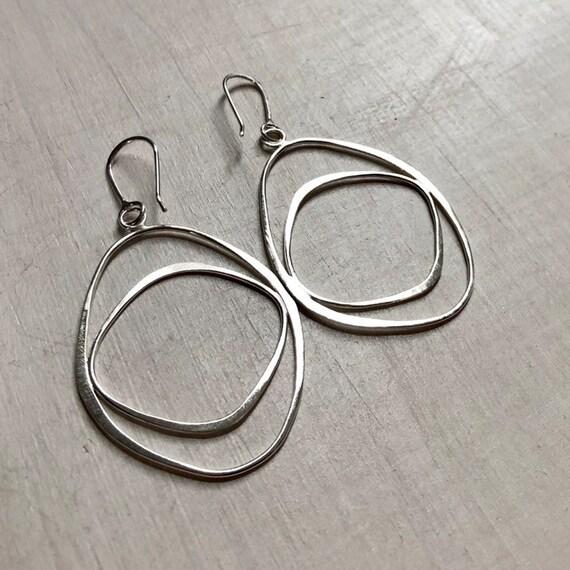Handmade Sterling Silver Organic Double Shape Dangle Earrings