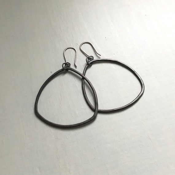 Big Handmade Sterling Silver Organic Triangle Hoops Oxidized