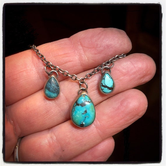 Handmade Sterling Silver and Turquoise Bohemian Necklace