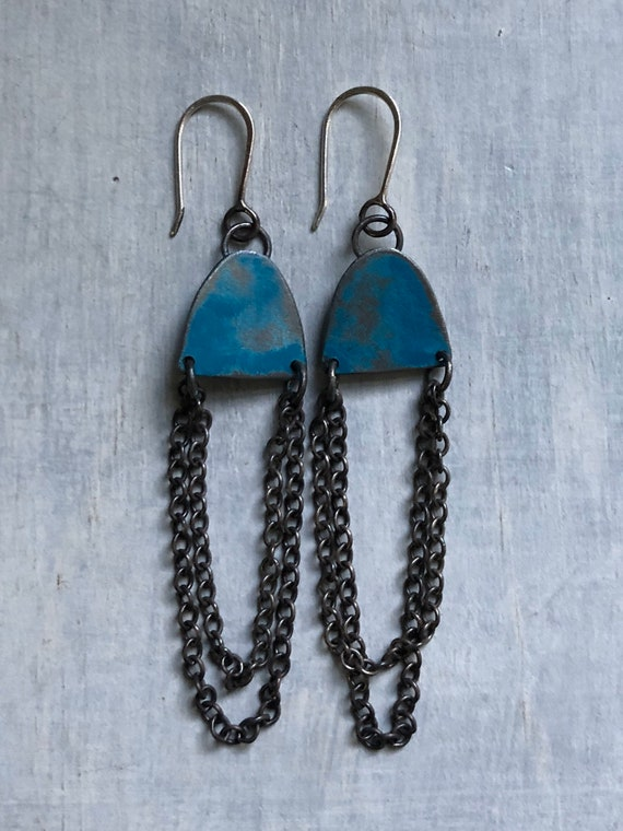 Handmade Sterling Silver Graffiti Chain Earrings teal