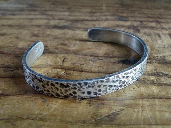 Chunky Unisex Sterling Silver Cuff Bracelet / size Medium / texture Granite