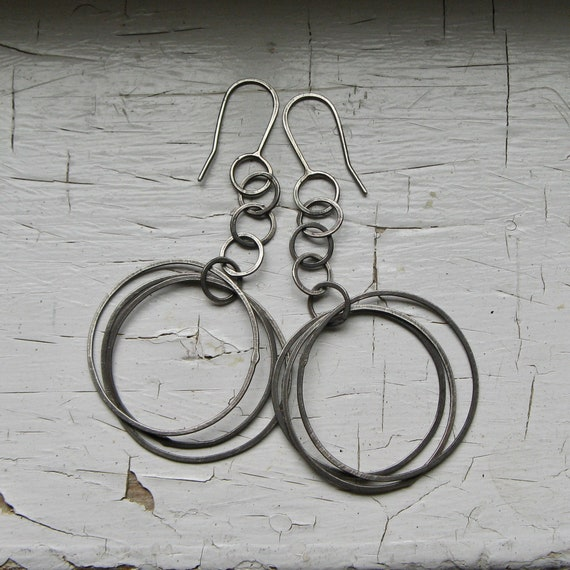 Handmade Chain and Multi Hoop Sterling Silver Earrings