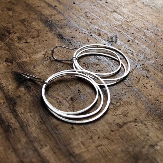 Triple Organic Circle Sterling Silver Hoops