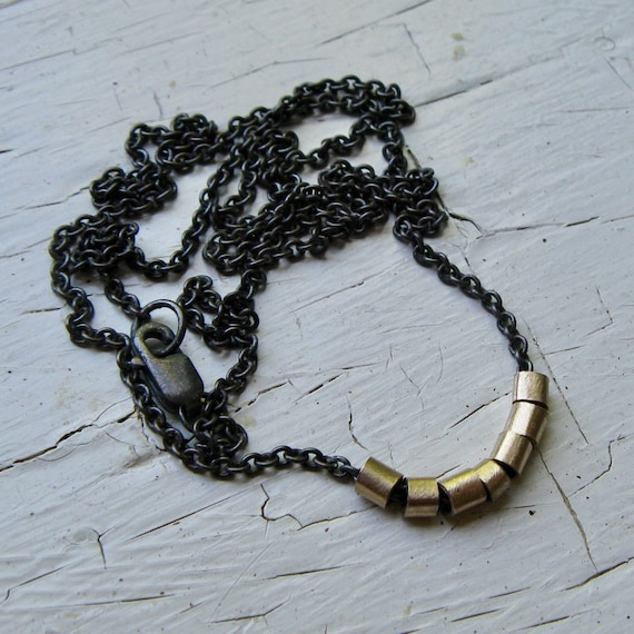 14k Gold Tube Bead and Sterling Silver Necklace