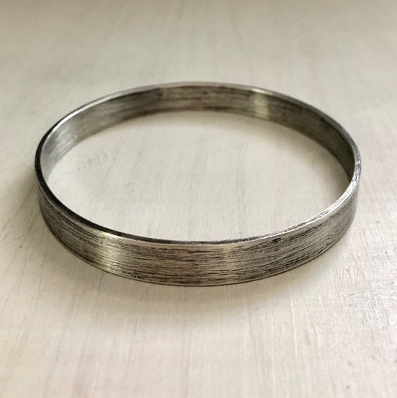 Extra Wide Chunky Sterling Silver Bangle Bracelet Rustic Finish Small Medium or Large