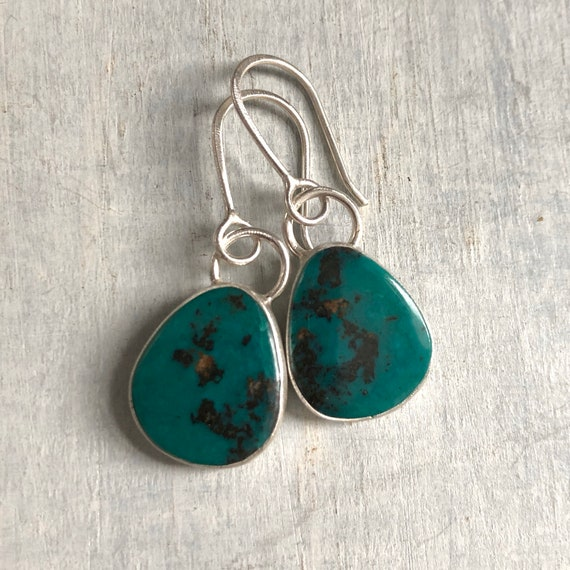 Handmade Tibetan Turquoise and Sterling Silver Earrings
