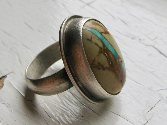 American Ribbon Turquoise and Sterling Silver Statement Ring