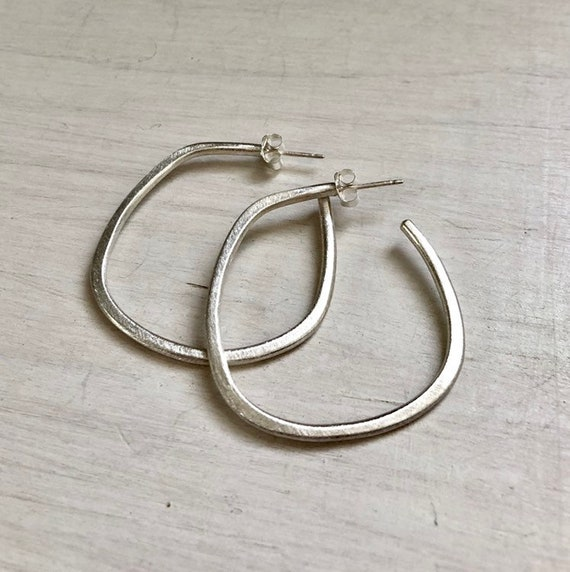 Handmade Sterling Silver Organic Shaped Everyday Post Hoops