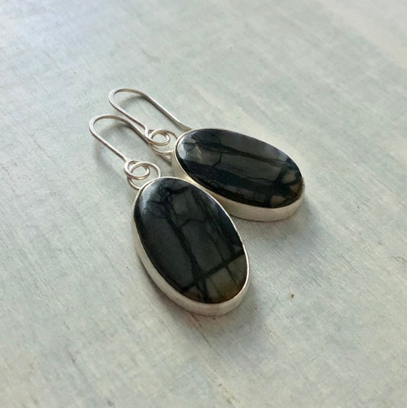Handmade Picasso Jasper and Sterling Silver Dangle Earrings