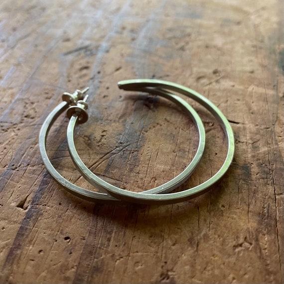 Handmade Sterling Silver Post Hoops