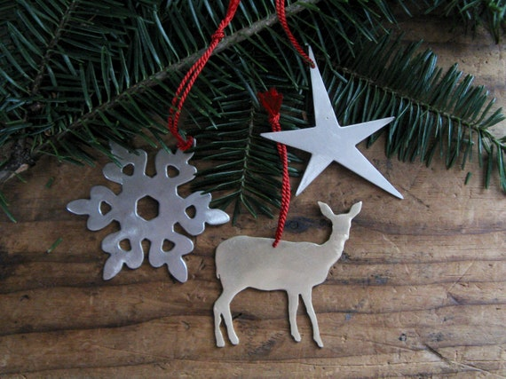 Set of Three Brass Ornaments Snowflake Doe Deer Star