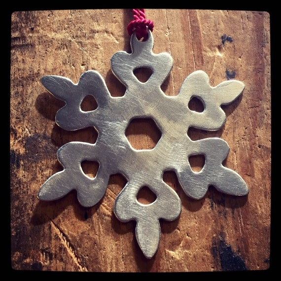 White Brass Snowflake Ornament