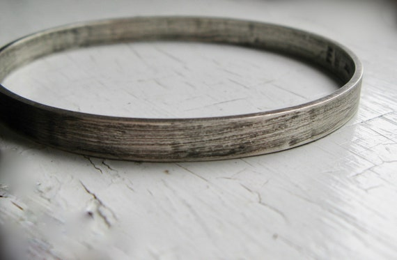 Wide Chunky Sterling Silver Bangle Bracelet Rustic Finish small, medium or large