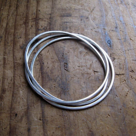 Simple Oval Sterling Silver Bangle Medium