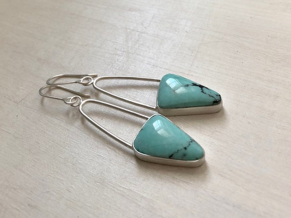 Handmade American Campitos Turquoise and Sterling Silver Dangle Earrings