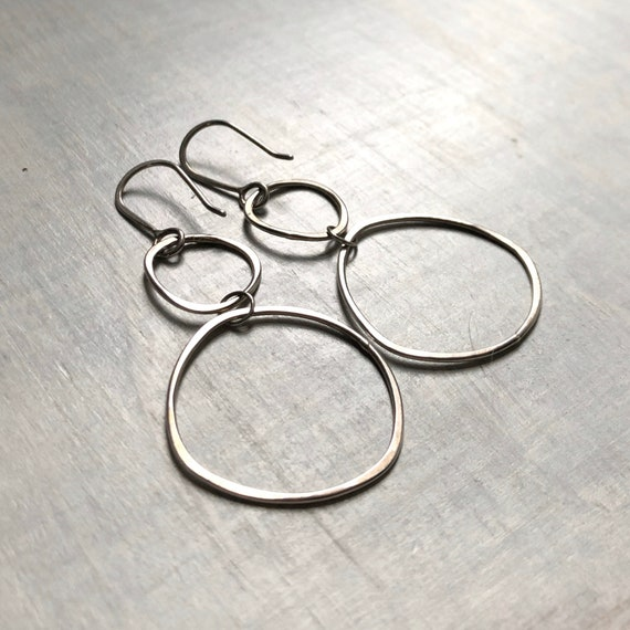 Handmade Sterling Silver Double Organic Hoops