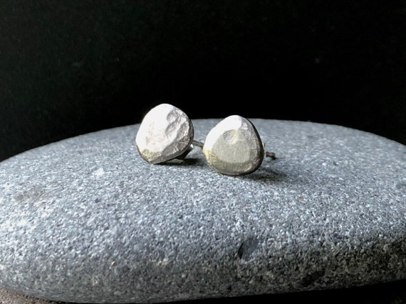 Tiny Handmade Sterling Silver Pebble Post Earrings oxidized or shiny
