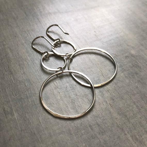 Handmade Sterling Silver Dangle Hoop Earrings