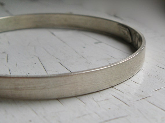 Chunky Sterling Silver Bangle Bracelet size Medium Granite Texture