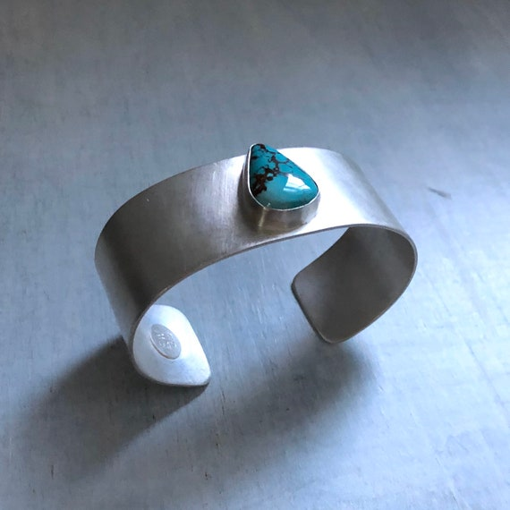 Handmade American Turquoise and Sterling Silver Cuff Bracelet Unisex