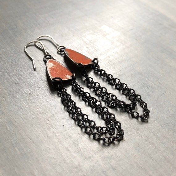 Handmade Sterling Silver Graffiti Chain Earrings Orange