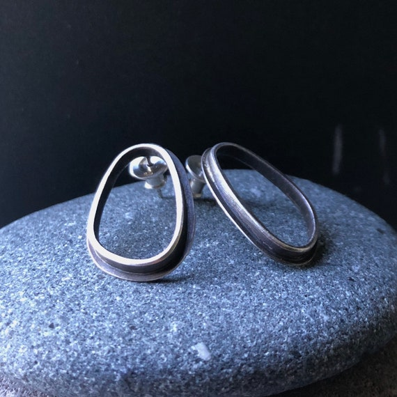 Handmade Sterling Silver Power Post Earrings