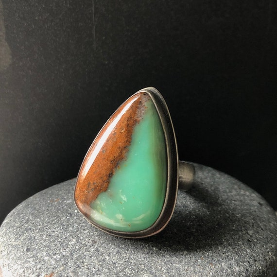 Big Handmade Chrysoprase and Sterling Silver Statement Ring