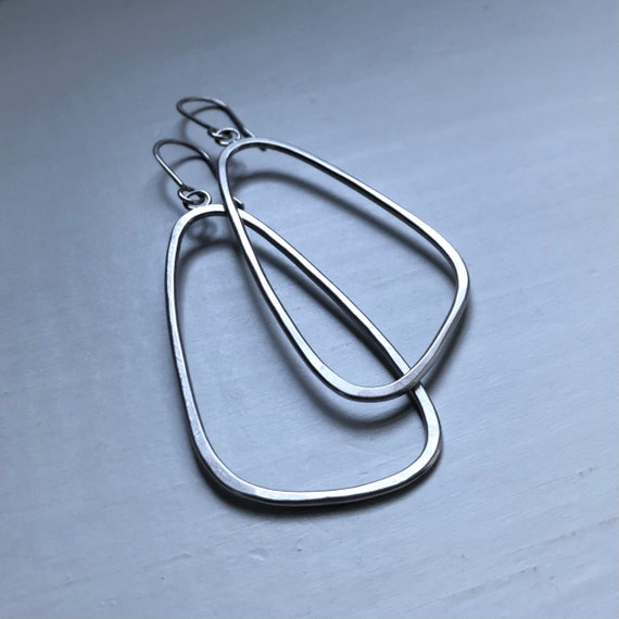 Big Handmade sterling Silver Long Triangles