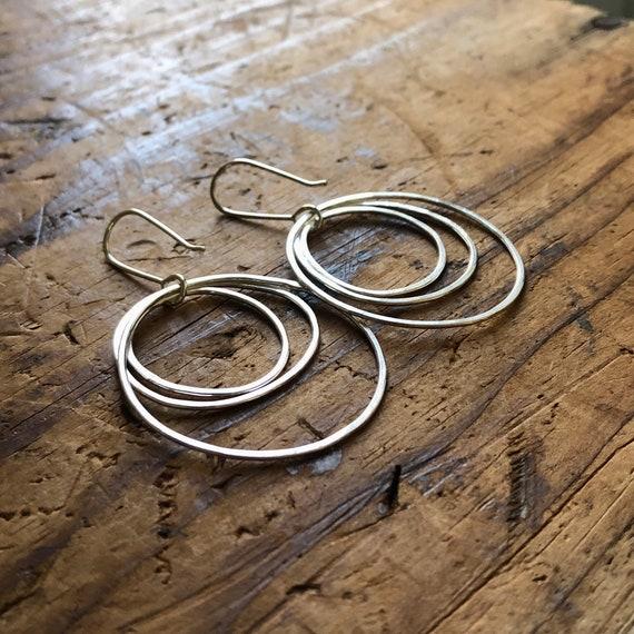 Handmade Sterling Silver Organic Circles Drop Earrings Large