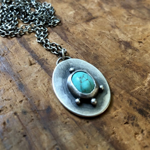 Handmade Shield Turquoise and Sterling Silver Necklace