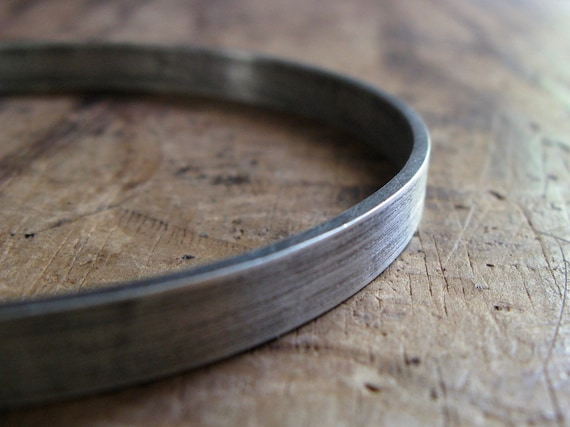 Chunky Sterling Silver Bangle Bracelet size Large