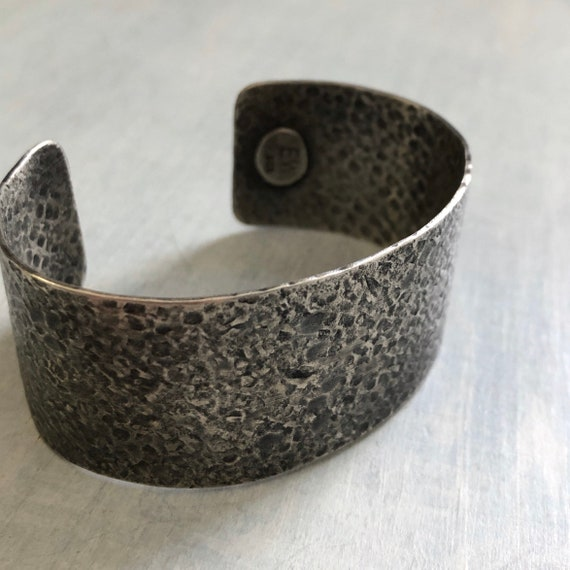 Handmade Sterling Silver Extra Wide Textured Cuff Bracelet size medium