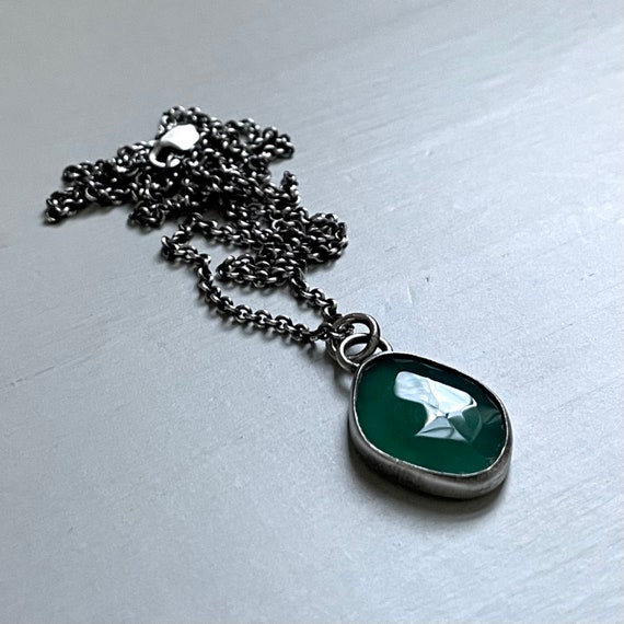 Handmade Green Onyx and Sterling Silver Necklace