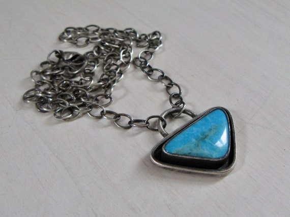 Handmade American Nacozari Turquoise and Sterling Silver Pendant Necklace