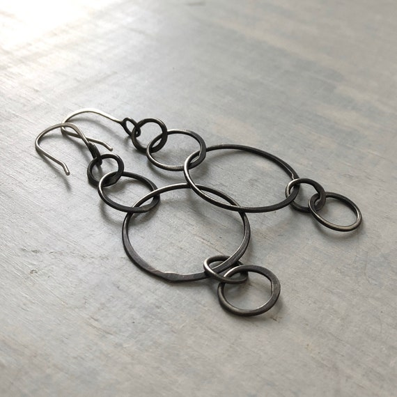 Handmade Sterling Silver Loopy Dangle Earrings