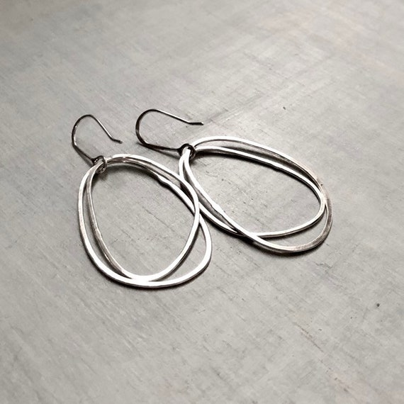 Medium Handmade Double Shiny Organic Sterling Silver Hoops