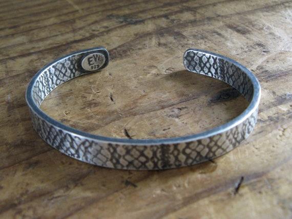 Chunky Unisex Sterling Silver Cuff Bracelet / size Medium / texture Snake