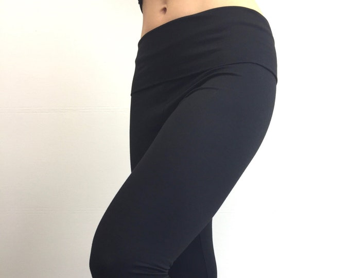 High-Waisted Bamboo Terry Leggings ~ Black by So-Fine
