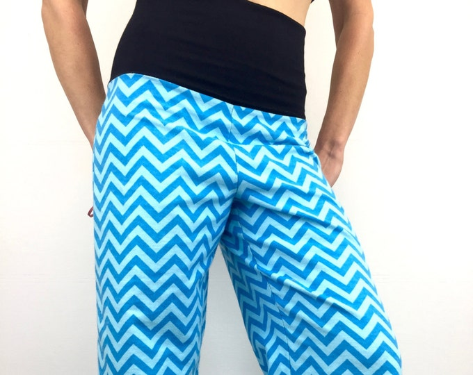 Zig Zag Blue - 100% Cotton Flannel - High Waistband Party Pajamas by So-Fine