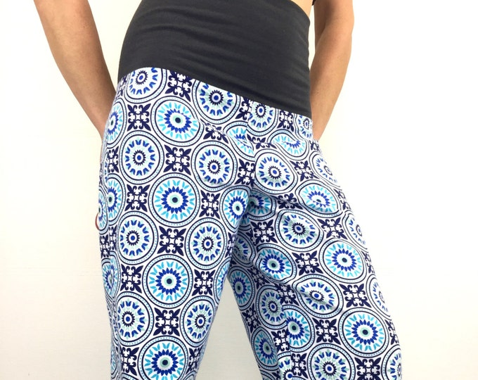 Funky Circles - 100% Cotton Flannel - High Waistband in Bamboo- Party Pajamas by So-Fine