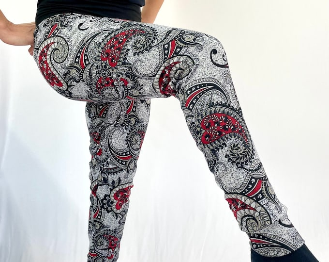 Red Paisley Sweater Knit Pants - Sublime