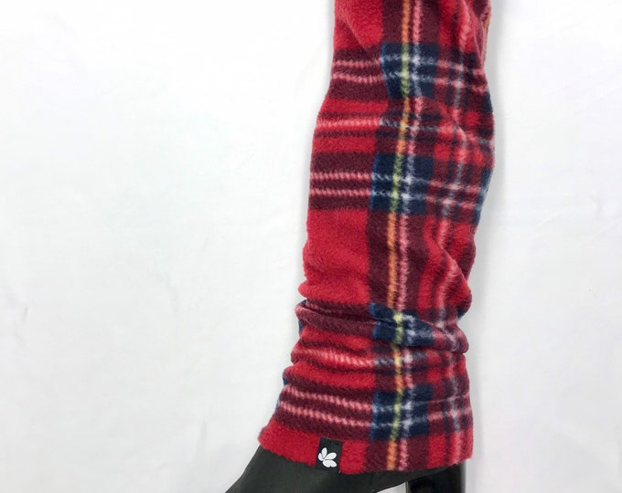 Classic Red Plaid Fleece Cozy Leg Warmers