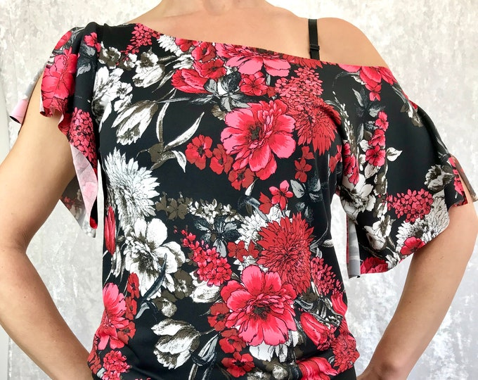 Red Floral with Black band Sensational Tee by So-Fine