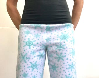 Minty Green Snowflakes - High Waistband in Bamboo- Party Pajamas by So-Fine