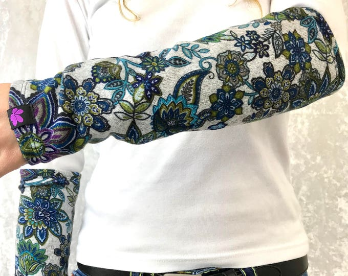 Funky Floral Sweater Knit Arm Warmers lined w Grey Bamboo Terry by So-Fine