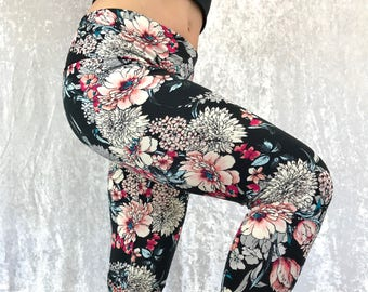 Peach Floral ~ High-Waisted Lovely Leggings by So-Fine