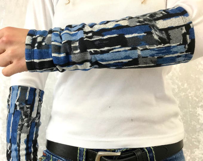 Abstract Blue  Sweater Knit Arm Warmers lined w Black Bamboo Terry by So-Fine