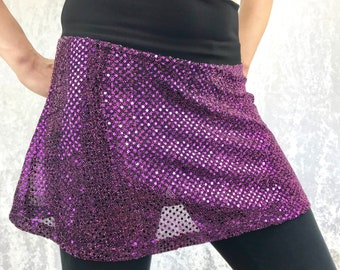 Purple-Pink Sequins on Black Festival Skirt by So-Fine