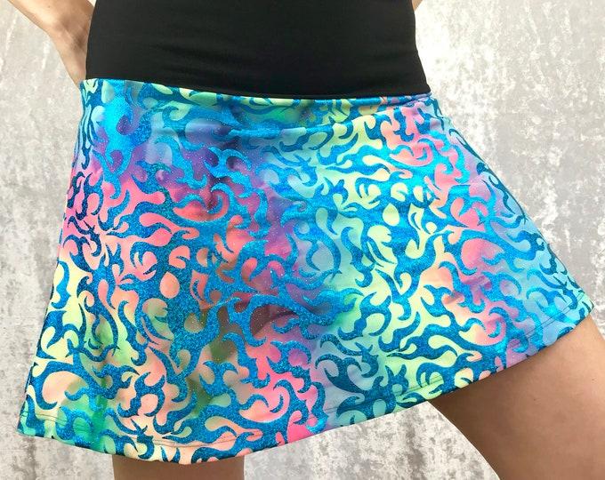 Blue Sparkle Flames Festival Skirt by So-Fine