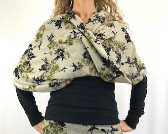 Green Winter Blossoms- Sweater-Knit ~ D.D Infinity